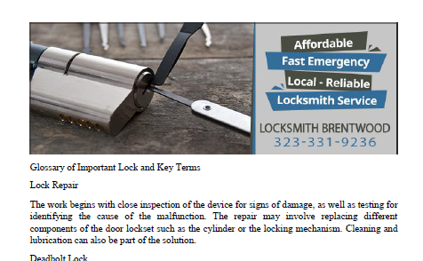 Glossary by Locksmith Brentwood - Click to download