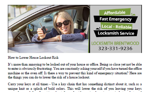 How to Lower House Lockout Risk in Brentwood, CA - Click to download
