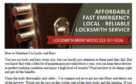 How to Maintain Car Locks and Keys in Brentwood - Click to download